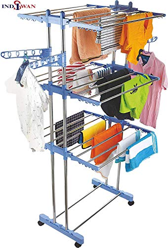 INDISWANTM Stainless Steel Double Pole 3 Layer Cloth Drying Stand