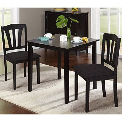 Metropolitan 3 Piece Dining Set,in Black Finish, Set Includes 2-chairs and 1-Table, It Is Made of Quality Wood Materials, This Petite Dinette Takes up Little Space