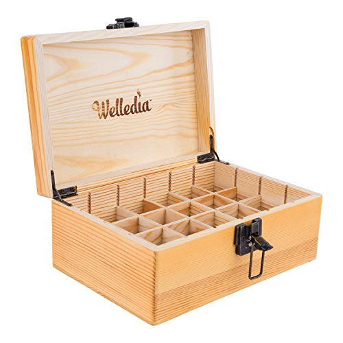 Welledia AromaStorage Essential Oil Wooden Box, Large, Fits 24 x 5-30ML Bottles - Customizable Dividers + Metal Clasp - Elegant Wooden Look, Impressive Home Décor - Travel Safe, Lightweight & Compact (Best E Liquid Shop)