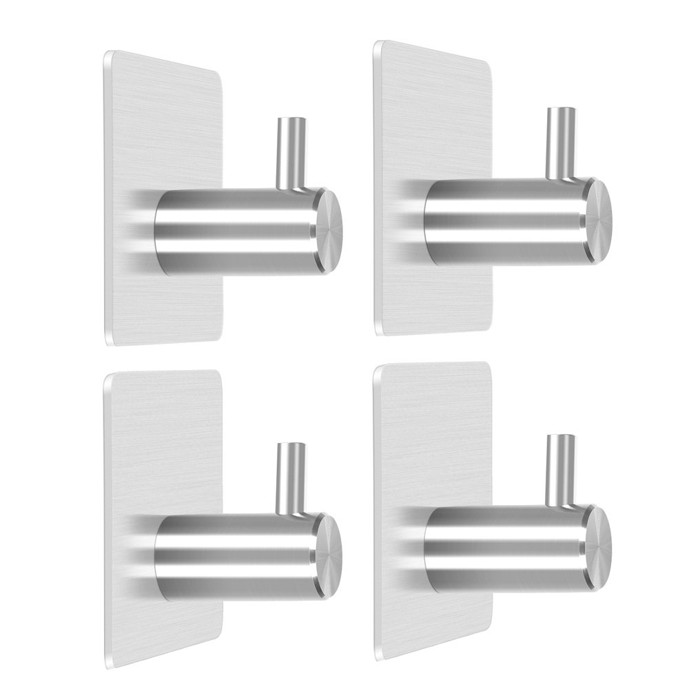 Szaike Self Adhesive Hooks,Heavy Duty Wall Hooks Coat Hooks Robe/Towel Hooks, 304 Stainless Steel Brushed Nickel Bathroom Kitchen Organizer (4-Pack)