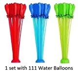 Super Value Balloons - Makes 100+ Water Balloons in a Minute --3 Hose Attachment Filler - Includes 111 Pre-Tied Balloons – Be ready for Water Bombs Fight – Keep everything Easy for Kids
