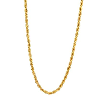 58ece4ef2d735 TUOKAY 18K Gold 4mm Thin Rope Chain for Woman and Man, Sparkling Small Gold  Rope Necklace for Pendant, 4mm, 24