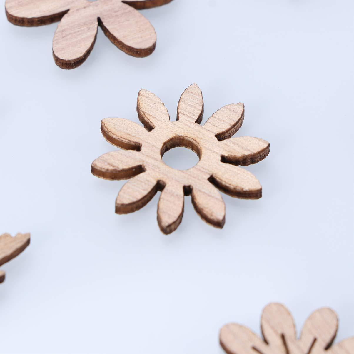 Amosfun 100pcs bois d/écoupes en bois oiseau papillon fleur tranches en bois embellissements table confettis d/écoration rustique ornements pour bricolage artisanat fournitures