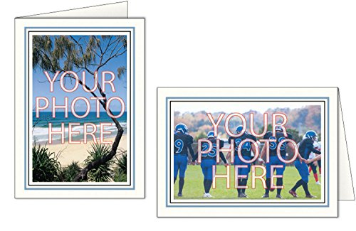 Photographer's Edge, Photo Insert Card, Bright White with Double Border, Set of 10 for 4x6 Photos - Blue Mist & Raven Black by Photographer's Edge