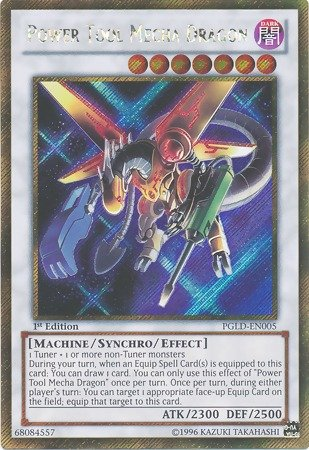 (Yu-Gi-Oh! - Power Tool Mecha Dragon (PGLD-EN005) - Premium Gold - 1st Edition - Gold Secret Rare)