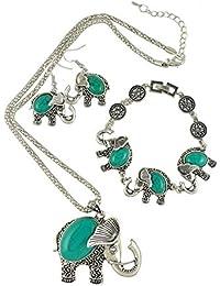 Xmas Gift for Mom & Wife-Women Elephant Jewelry Set-Welegant Retro Vintage Turquoise Pendant Necklace Earrings Bracelet Charms Set for Ladies Girls(Elephant Green)