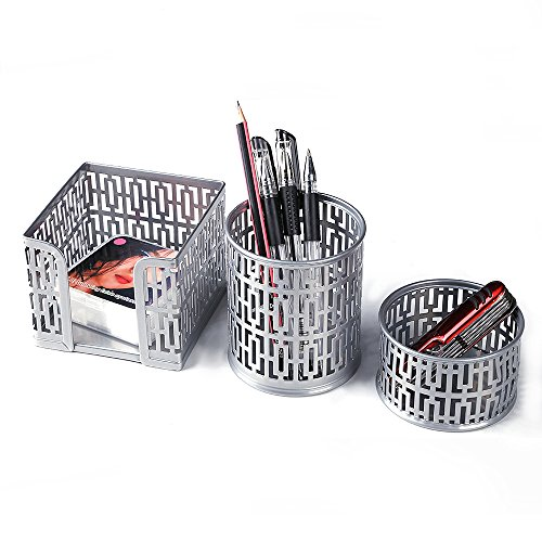 - Crystallove Metal Mesh Office Supplies Desktop Organizer Set of 3pcs-Pencil Cup, Memo Holder and Clip Holder (Silver-Style 1)