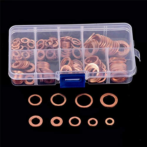 - BlueDragon10 Cooper Washer 200 Pcs Copper Washer Gasket Shims Set Flat Ring Seal Assortment Kit with Box M5-M14