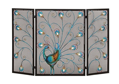 Deco 79 Metal Fireplace Screen 48 by 32-Inch (Flat Scrolled)