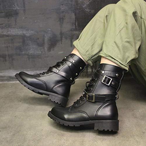Hebilla Con Moda De Para Punta Cordones Logobeing Botas Zapatos Y Planas Correa Redonda Mujer Moto Cuero Negro xvwnfCBCq
