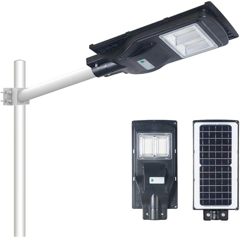 80W Solar Street Light Dusk to Dawn,Parking Lot Lights 8000mAH Iron Phosphate Battery LED Outdoor Lighting,6000Lm Light/PIR Motion Sensor for Garage,Patio,Garden,Driveway