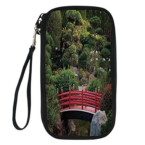 iPrint Apartment Decor,Tiny Bridge Over Pond Japanese Garden Monte Carlo Monaco Along with Trees and Plants Decorative, for Women Canvas Document Organizer Clutch