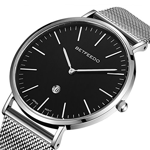 (Betfeedo Men's Watch Ultra-Thin Quartz Analog Dress Watches for Men with Stainless Steel Mesh Band)