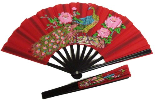 Folding Hand Fan, Small Performance Fan (Red with Peacock Bird Design) (Really Small Fan)