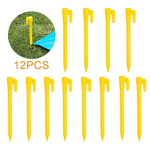 EDOBIL Outdoor Stakes, Durable Plastic Hold Beach Towel Stakes for Outdoor Camping, Picnics on a Blanket or Mat (12pcs Yellow)