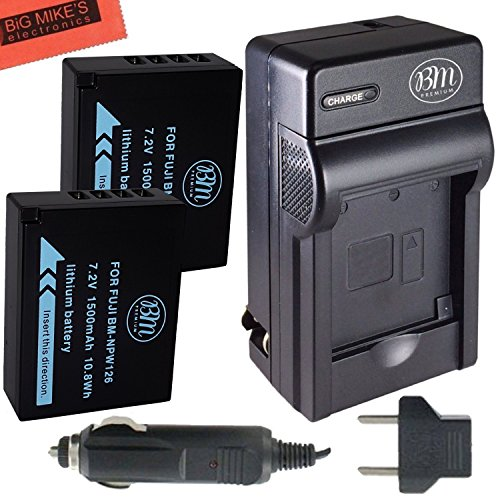 BM Premium 2 NP-W126S Batteries and Charger for Fujifilm FinePix X-A5, X-H1, X-A10, X100F, X-T10, X-T20, X-Pro1, X-Pro2, HS35EXR, HS50EXR, X-A1, X-A2, X-A3, X-E1, X-E2, X-E2S, X-M1, X-T1, X-T2 Camera