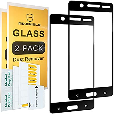 [2-PACK]-Mr Shield For Nokia 5 [Tempered Glass] [Full Cover] [Black] Screen Protector with Lifetime Replacement Warranty from Mr Shield