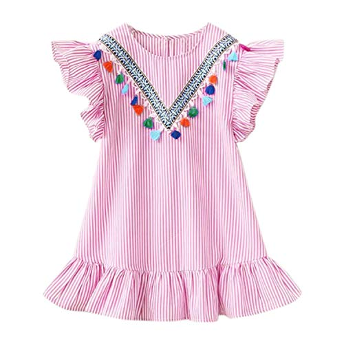 Cute Baby Girls Short Sleeve Princess Dress Fringed riped Tassel Summer Ruffle Cotton Dress,Pink,5T,France