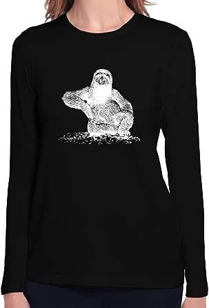 Teeburon Sloth Sketch Women Long Sleeve T-Shirt