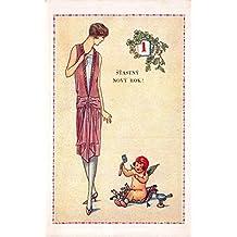 New Year Postcard Cherub Pixie Fairy Art Deco Woman Stastny Novy Rok~114069