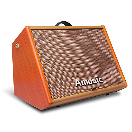 Amosic Guitar Amplifier 25W, Combo Amp Speaker with Free Cable Bundle for Street Performance and Guitar Practice (Electric Amps Acoustic Combo)