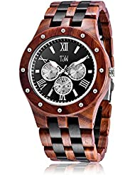 TJW Mens Natural wooden Watches Day Date Analog Quartz Handmade Casual Wrist Watch 8010-1M (black) gift