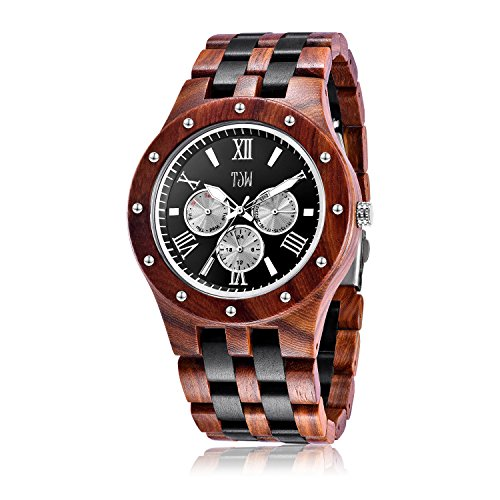 (TJW Mens Natural Wooden Watches Day Date Analog Quartz Handmade Casual Wrist Watch 8010-1M (Black) Gift)