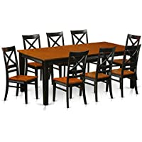 East West Furniture QUIN9-BLK-W 9-Piece Dining Table Set, Black/Cherry Finish