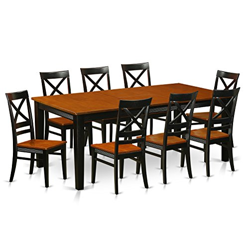 East West Furniture QUIN9-BLK-W 9-Piece Dining Table Set, Black Cherry Finish