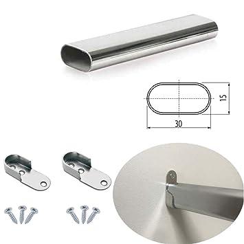 M/öbelbeschl/äge von MKGT/® Schrankrohrlager L/änge Metall Kleiderstange Oval Schrankstange