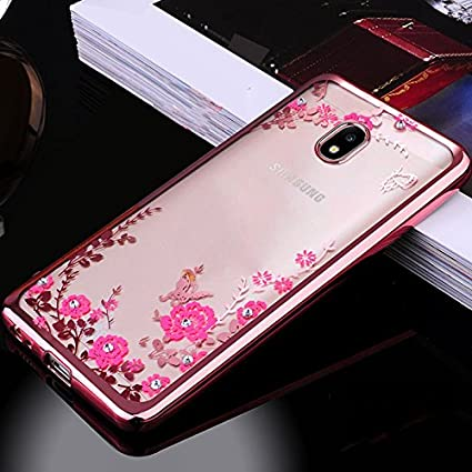 lowest price 4de2e 20b37 LOXXO Silicone Secret Garden Flower Diamond TPU Electroplated Slimfit  Ultrathin Metallic luster Back Cover Case for Samsung Galaxy J7 Pro(Rose  Gold)