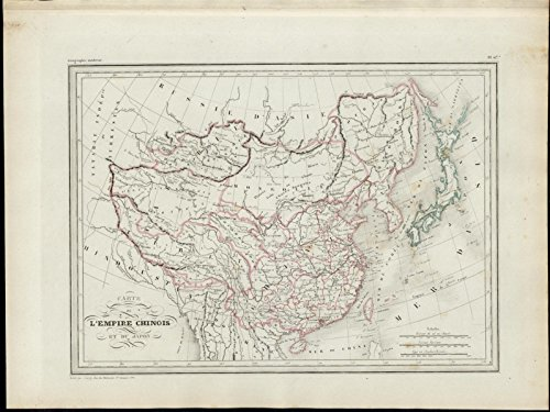 China Tibet Mongolia Japan Asia nice 1846 uncommon antique color map