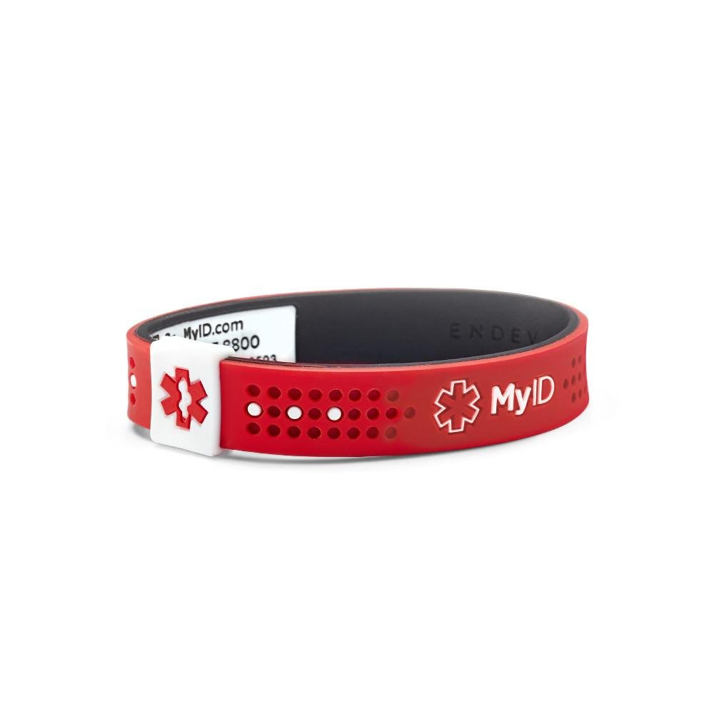 myID Sport Medical ID Bracelet Red//Black LG Autism Lightweight Silicone Material Great for Those with Diabetes Fits Kids /& Adults Free Medical Profile To Store Medical Information Etc