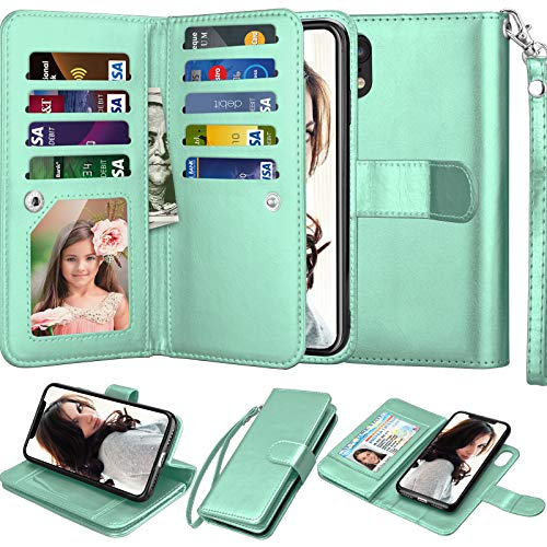 Njjex Wallet Case for iPhone XR, for iPhone XR Case, PU Leather [9 Card Slots] ID Credit Holder Folio Flip Cover [Detachable][Kickstand] Magnetic Phone Case & Lanyard for iPhone XR 6.1