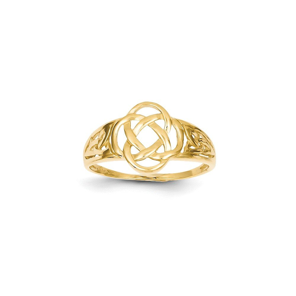 Size 8 - Solid 14k Yellow Gold Polished Ladies Celtic Knot Ring (2mm)