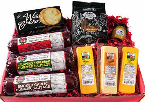 Gourmet Basket - features WISCONSIN'S BEST Smoked Summer Sausages, 100% Wisconsin Cheeses, Crackers, Pretzels, Sweet and Tangy Mustard.Ultimate GIft Basket!