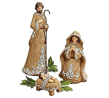 Enesco Legacy of Love by Gregg Gift Holy Family in Creche Wood and Stone Resin Figurine, 13