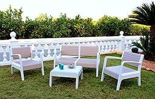 Shaf Miami - Conjunto muebles jardín/terraza, color beige: Amazon.es: Jardín