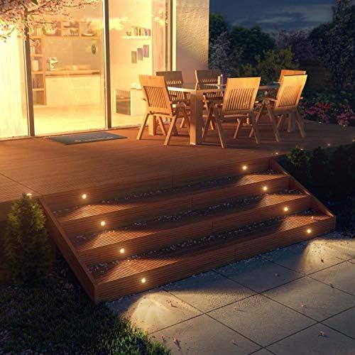 RSWLED 20er Set Led Bodeneinbauleuchte Aussen Ø45mm 1W 12V IP67 Wasserdicht Terrassen Einbaustrahler Led terrassenbeleuchtung für Küche Garten Treppen Holzdeck Decke (Warmesweiß)