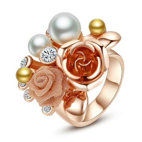 Yoursfs Retro Vintage 18K Rose Gold Plated Double Rose Flower Crystal & Pearl Band Ring, size 6