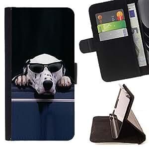 Momo Phone Case / Flip Funda de Cuero Case Cover - Gafas de sol para perros dálmata blanco divertido lindo - Samsung Galaxy E5 E500