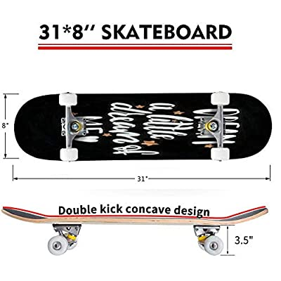 Classic Concave Skateboard Vector Illustration with Hand Sketched Lettering Dream a Little Dream Longboard Maple Deck Extreme Sports and Outdoors Double Kick Trick for Beginners and Professionals : Sports & Outdoors