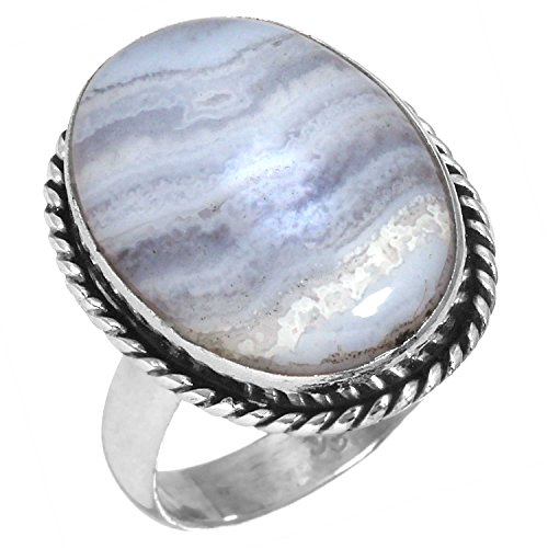Blue Agate Gemstone Ring - Solid 925 Sterling Silver Fashion Jewelry Natural Blue Lace Agate Gemstone Ring Size 7