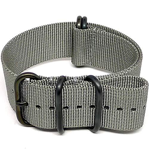 DaLuca Ballistic Nylon Military Watch Strap - Grey (PVD Buckle) : 22mm