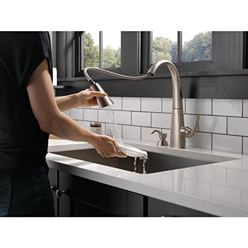 Delta Arc Spotshield Stainless 1-handle Deck Mount Pull-down ShieldSpray Kitchen Faucet