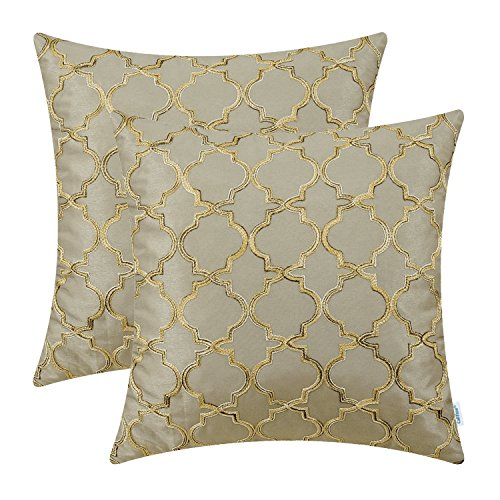 (CaliTime Pack of 2 Faux Silk Throw Pillow Covers Cases for Sofa Couch Home Decoration 18 X 18 Inches Gradient Quatrefoil Accent Geometric Chain Embroidered Taupe)