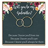 Dear Ava Godmother Necklace: Godmother Gift, Godmother, Godmother Proposal, Fairy Godmother, Be My Godmother, Godmother Request, 2 Interlocking Circles (gold-plated-brass, NA)