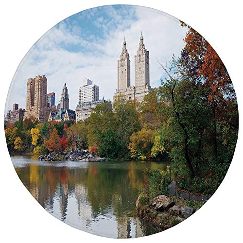 Round Rug Mat Carpet,City,Manhattan Central Park Panorama in Autumn Scenic Lake View Colorful Trees Reflection,Multicolor,Flannel Microfiber Non-Slip Soft Absorbent,for Kitchen Floor Bathroom]()