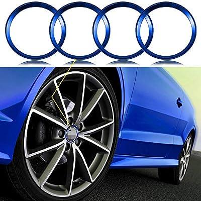 Xotic Tech 4 Pieces Blue Alloy Car Wheel Rim Center Cap Hub Rings Decoration for Audi A3 A4 A5 Q3 Q5 Q7 TT Quattro, Fit BMW X1 X3 X5 1 3 5 6 7 Series: Automotive