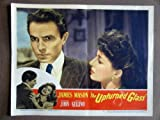 EB46 Upturned Glass JAMES MASON '47 Portrait Lobby Card.  Here's a terrific PORTRAIT lobby card from the original release of THE UPTURNER GLASS featuring a great image of a young JAMES MASON with his then wife PAMELA KELLINO.    Lobby card is in EXCELLENT- to VERY GOOD+ condition. No pinholes, no stains, a one-half inch edge tear on the left border, a light center fold hardly noticeable from the front of the card.